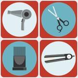 Ensemble coloré d'icône de beauté d'outils féminins de Hairstyling Photo libre de droits