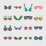 Ensemble coloré d'icône de lunettes de soleil de partie dans le style plat d'isolement sur le fond transparent Calibres de concep Illustration de Vecteur