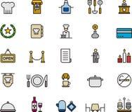 Ensemble coloré d'icône de restaurant et de cuisine Photo libre de droits
