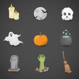 Ensemble coloré d'icône de vecteur de Halloween Photos libres de droits