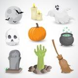 Ensemble coloré d'icône de vecteur de Halloween Images libres de droits