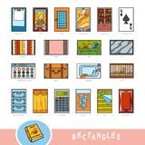 Ensemble coloré d'objets de forme de rectangle Dictionnaire visuel illustration stock