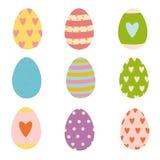 Ensemble coloré d'oeufs de vacances de Pâques de printemps illustration stock