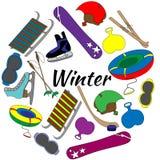 Ensemble coloré d'outils des sports d'hiver et de l'équipement de jeux Photos stock