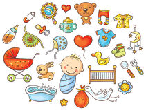 Ensemble coloré de bébé de bande dessinée illustration libre de droits