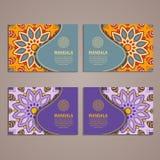 Ensemble coloré de bannières ornementales avec le mandala Decorat de vintage Images stock
