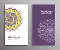 Ensemble coloré de bannières ornementales avec le mandala Decorat de vintage Image stock