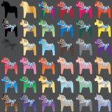 Ensemble coloré de cheval de Dala illustration libre de droits