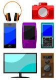 Ensemble coloré de graphisme de dispositifs digitaux Photographie stock