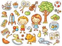 Ensemble coloré de griffonnage d'objets de la vie d'un enfant illustration de vecteur