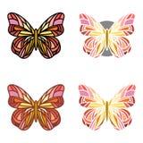 Ensemble coloré de papillons avec de divers contours Photo stock