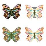 Ensemble coloré de papillons avec de divers contours Photos stock