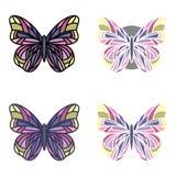 Ensemble coloré de papillons avec de divers contours Photo libre de droits
