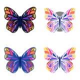 Ensemble coloré de papillons dans divers contours Photos libres de droits