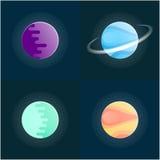 Ensemble coloré de planètes sur le fond foncé Illustration de vecteur Photos stock