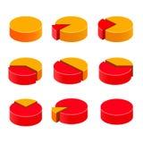 Ensemble coloré de tarte de diagramme Images libres de droits