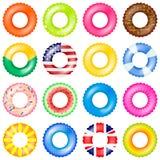 Ensemble coloré de vecteur d'anneaux de bain collection réaliste de balise de vie 3d avec le drapeau américain et BRITANNIQUE, be Photos libres de droits