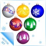 Ensemble coloré différent de boules de Noël Descripteur de vecteur illustration stock