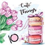 Ensemble coloré doux avec les macarons et les fleurs français croquis illustration de vecteur