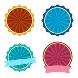 Ensemble color?, label rond avec des rubans Illustration de vecteur illustration stock