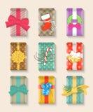 Ensemble coloré lumineux de boîte-cadeau de Noël Photos libres de droits
