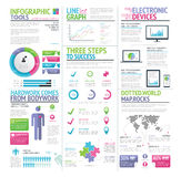 Ensemble coloré moderne de vecteur infographic d'éléments Images libres de droits
