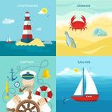 Ensemble coloré nautique d'icône illustration stock
