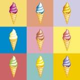 Ensemble coloré savoureux de crème glacée  Cornets de crème glacée de collection avec l'écrimage différent d'isolement sur le fon illustration stock