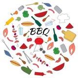 Ensemble coloré tiré par la main de barbecue Images stock