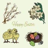 Ensemble coloré tiré par la main de Pâques Photos stock