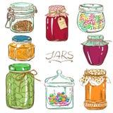 Ensemble coloré de pots de maçon d'isolement Images stock
