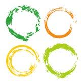 Ensemble coloré de vecteur avec des courses de brosse de cercle d'arc-en-ciel des cadres, icônes, éléments de conception de banni Image libre de droits