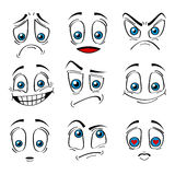 Ensemble comique d'expression d'émotions de visages de style Vecteur Photos stock