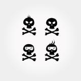 Ensemble comique noir d'icône de crâne et d'os croisés illustration de vecteur