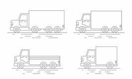 Ensemble commercial de van icons Ligne icône Illustration Libre de Droits