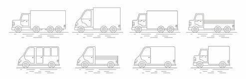Ensemble commercial de van icons Ligne icône Illustration de Vecteur