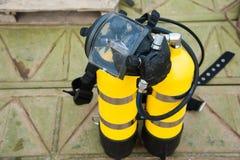 Ensemble complet d'équipement de plongée à l'air images libres de droits