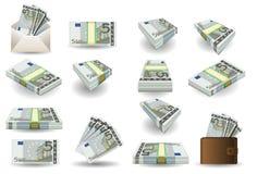 Ensemble complet de cinq billets de banque d'euro Photos libres de droits