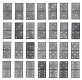 Ensemble complet de dominos d'isolement sur le fond blanc Image stock