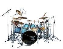 Ensemble complet de fond acoustique de blanc d'isolat d'instrument de tambour photos libres de droits