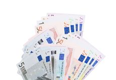 Ensemble complet des billets de banque de l'euro d'isolement photographie stock