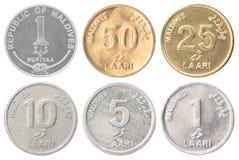 Ensemble complet des pièces de monnaie maldiviennes photos libres de droits