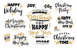 Ensemble conceptions de Noël et de bonne année de lettrage Images stock