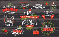 Ensemble conceptions de Noël et de bonne année de lettrage Images libres de droits