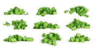 Ensemble coupé par herbe d'oignon vert sur le blanc Images libres de droits