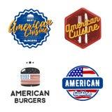 Ensemble créatif de conception américaine de logo de cuisine Illustration de vecteur Image stock