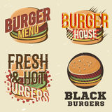 Ensemble créatif de conception de logos avec l'hamburger Illustration de vecteur Photographie stock libre de droits
