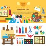 Ensemble créatif pour l'artiste Ideas, créativité illustration libre de droits