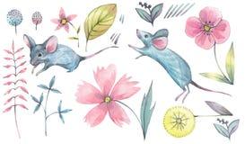Ensemble décoratif avec des souris et des éléments floraux