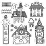 Ensemble décoratif de dessin de maison Photo libre de droits